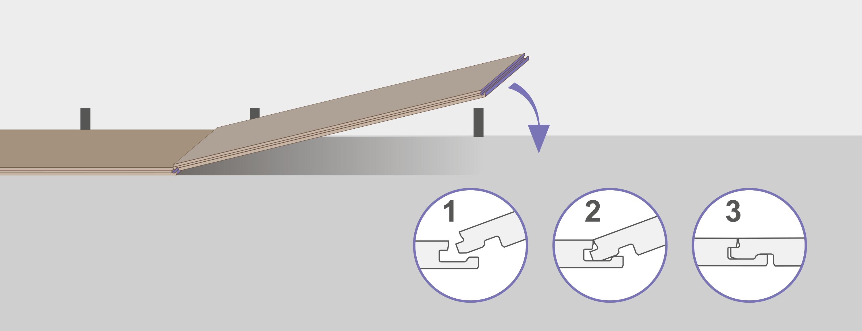 Уложите вторую планку, вставляя её в паз первой планки. Будьте осторожны, старайтесь не повредить углы планок.