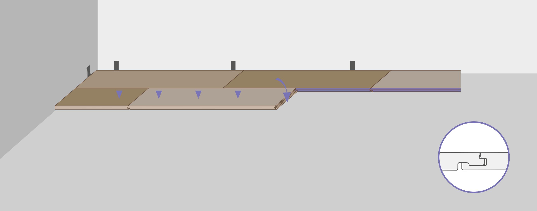 Для того чтобы завершить укладку, необходимо прижать планки к полу и защёлкнуть их.