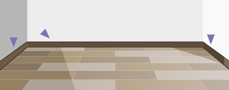 Когда укладка напольного покрытия будет завершена, установите плинтус, чтобы закрыть расширительный зазор и придать помещению законченный вид. Мы рекомендуем воспользоваться аксессуарами от Tarkett.