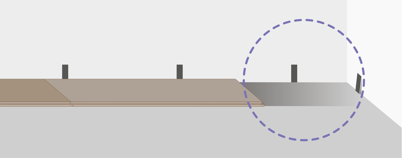 Продолжайте укладывать таким же образом до противоположной стены. Если последняя планка слишком длинная, подрежьте ее и уложите для завершения ряда, соблюдая зазор.